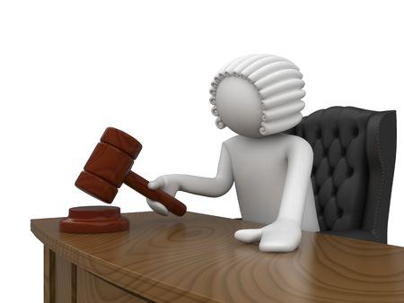 juge marteau: caract�res 3D isol�es sur fond blanc s�rie