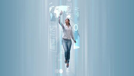 successful future: Attractive young adults in futuristic interfaces  interiors series
