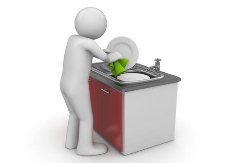 machine � laver: caract�res 3D isol�es sur fond blanc s�rie