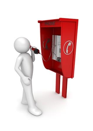 cabina telefono: caracteres 3D aislados en la serie de fondo blanco