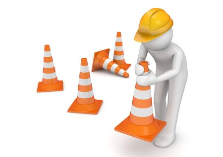 seguridad en el trabajo: caracteres 3D aislados en la serie de fondo blanco