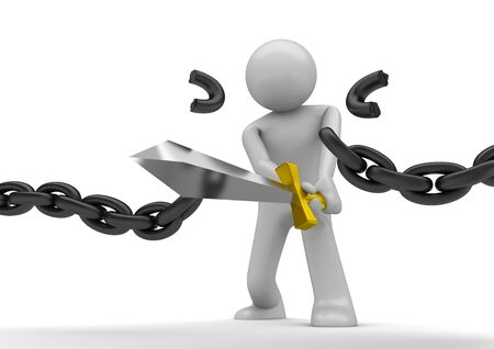 cadenas: personajes 3D aislados en la serie de fondo blanco