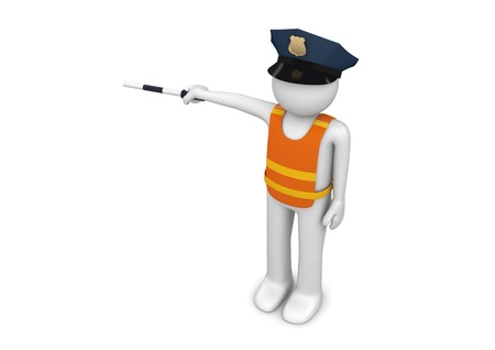 traffic warden: 3d characters isolated on white background series Stock Photo