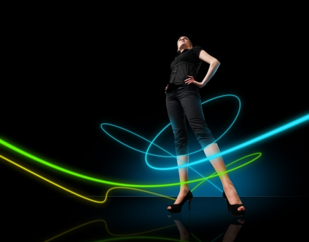 dancing club: People in dark room with glowing rays of light series