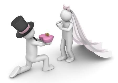 the happy bride: 3d characters isolated on white background series Stock Photo