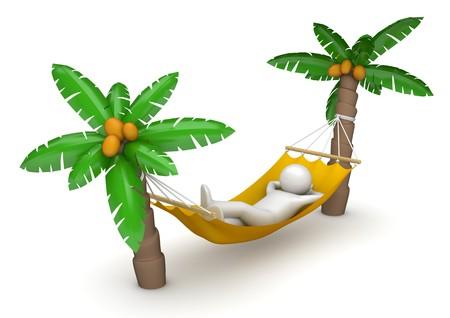 hammocks: personaggi 3D isolati su sfondo bianco series Archivio Fotografico
