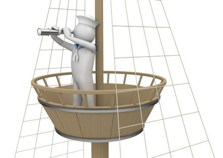 sailor: caracteres 3D aislados en la serie de fondo blanco