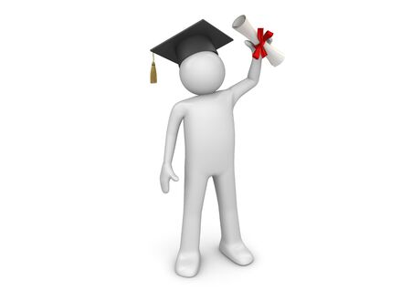 graduating: 3d characters isolated on white background series Stock Photo