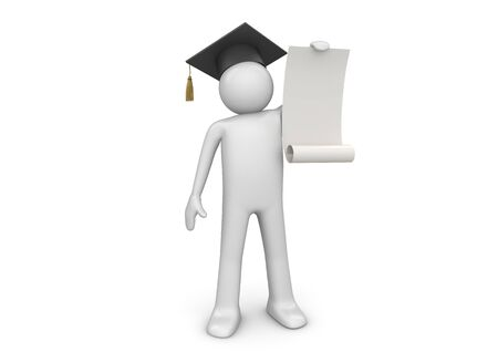 graduating seniors: 3d characters isolated on white background series Stock Photo