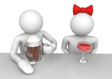 drunk cartoon: 3d characters isolated on white background series Stock Photo