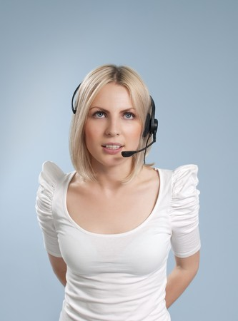 Business collection - Sexy call center operator isolated photo