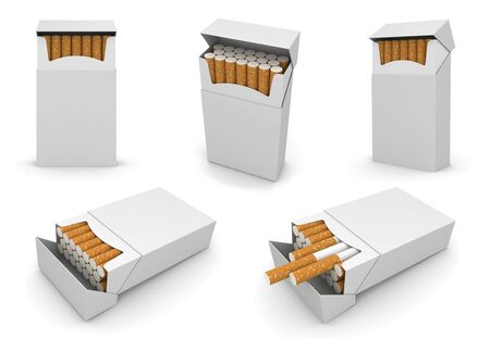 regularly: 5 packs of cigarettes 6000px template. High quality 3D model of opened pack in different points of view. Cigarettes regularly packed and sticked out. Packs surface empty to place your text logo.