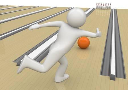 ten pin bowling: 3d characters isolated on white background series Stock Photo