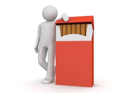 man smoking: caracteres 3D aislados en la serie de fondo blanco