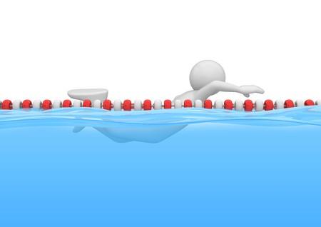 piscina olimpica: caracteres 3D aislados en la serie de fondo blanco