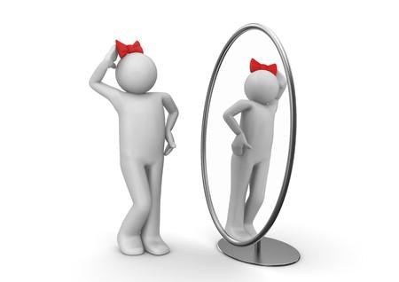 mirar espejo: caracteres 3D aislados en la serie de fondo blanco