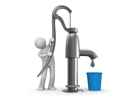 bucket water: caracteres 3D aislados en la serie de fondo blanco