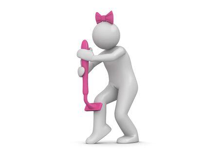 mujer sola: caracteres 3D aislados en la serie de fondo blanco