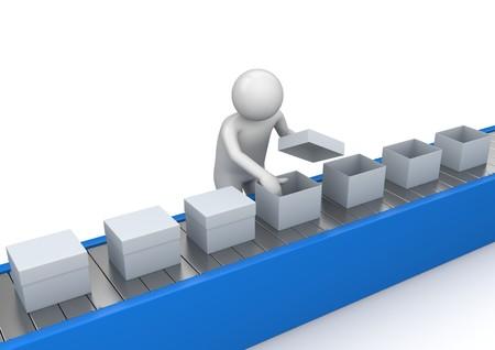 lopende band: 3D-personages geïsoleerd op een witte achtergrond serie