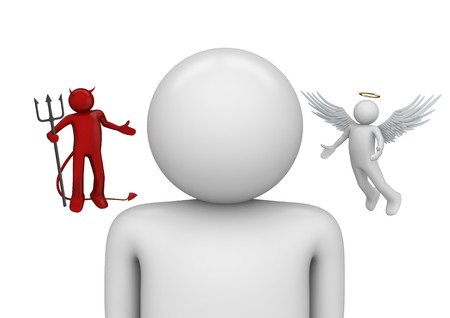 demonio: caracteres 3D aislados en la serie de fondo blanco