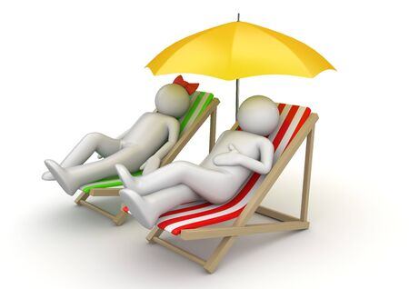 guy on beach: Couple on a beach chairs under umbrella Stock Photo