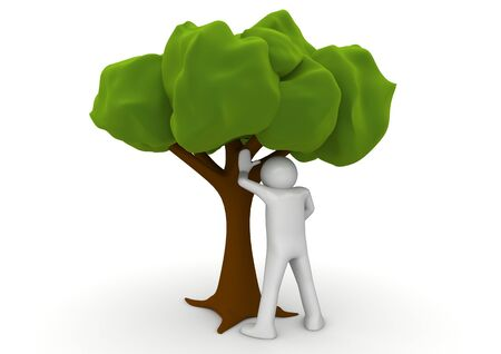 1 person: Peeing by the tree - Ecology collection Stock Photo