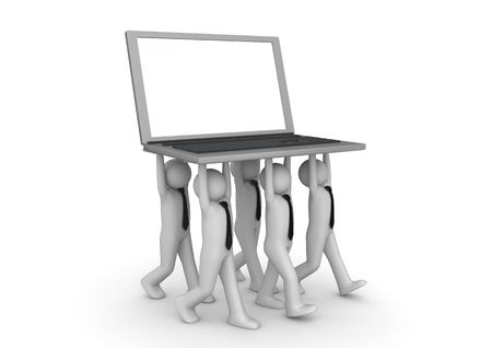 tiny: Tiny businessmen carrying laptop - Crowds collection Stock Photo