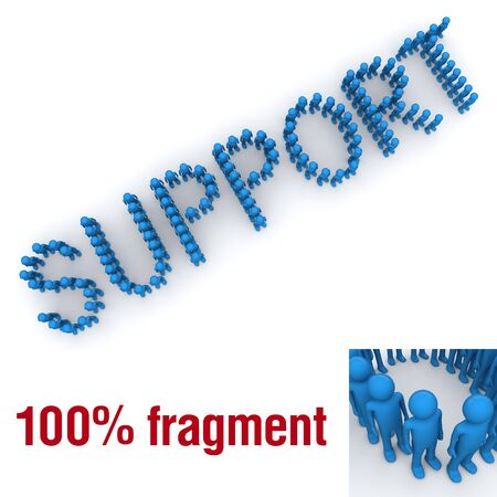SUPPORT word mounted by tiny characters Фото со стока