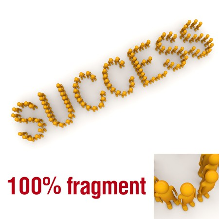SUCCESS word mounted by tiny characters
