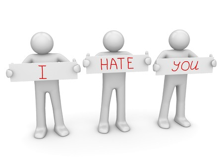 offended: I HATE YOU banner to place your text Stock Photo