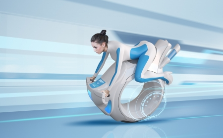 Attractive future bike rider - Future collection Banque d'images