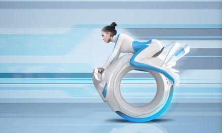 zero gravity: Attraente futuro bike rider - futuro insieme  Archivio Fotografico