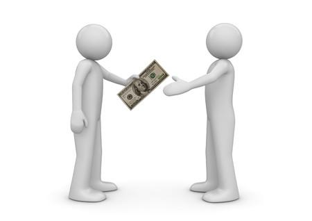cobradores: Hombre da nota de 100 d�lares a otro - colecci�n de finanzas