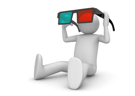 holiday movies: Character wearing 3d stereo anaglyph glasses. Cinema visitor. Isolated. One of a 1000+ 3d characters series. Stock Photo