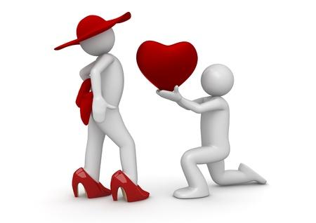 Nehmen Sie mein Herz, darling! Isoliert. Eine von 1000 + 3d Zeichen. Standard-Bild - 8856352