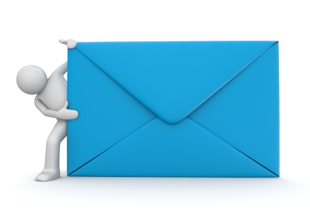 outbox: E-mail and character. Blue envelope. Isolated. One of a 1000+ 3d characters series. Stock Photo