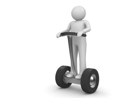 Segway driver. Character on modern ecological electric vehicle. Isolated. One of a 1000+ 3d characters series. Stock Photo
