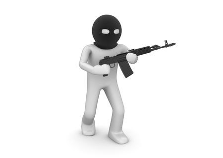 rifle: Terrorist. Character with automatic rifle. One of a 1000+ 3d characters series. Stock Photo