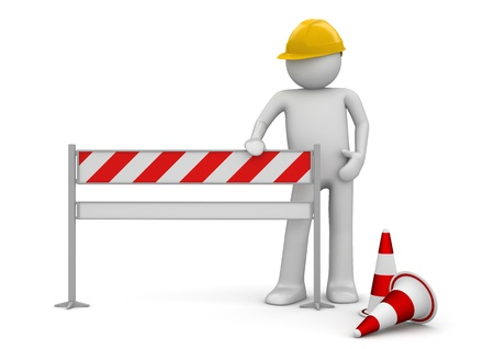 website: Under construction concept. Worker stands by the barrier. One of a 1000+ series. Stock Photo