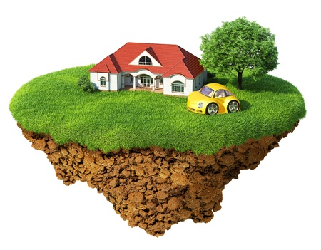 lodging: Life of a dream. Lawn with house, tree and sports car. Fancy island in the air isolated. Detailed ground in the base. Concept of success and happiness, idyllic ecological lifestyle.