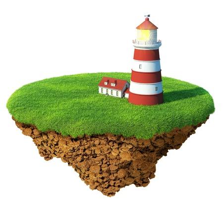 Vuurtoren op het eiland. Gedetailleerde grond in de basis. Concept van succes en geluk, idyllische ecologische levensstijl.