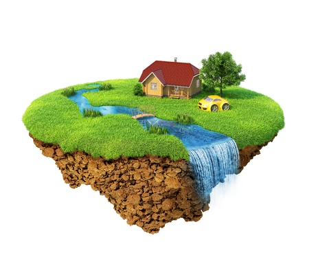 Life of a dream. Lawn with house, river, waterfall, tree and sports car. Fancy island in the air isolated. Detailed ground in the base. Concept of success and happiness, idyllic ecological lifestyle. photo