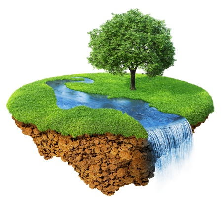 green planet: Idyllic natural landscape. Lawn with river, waterfall and one tree. Fancy island in the air isolated. Detailed ground in the base. Concept of success and happiness, idyllic ecological lifestyle. Series. Stock Photo
