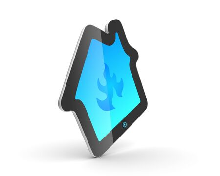 House pad. Fancy touch pad concept. Gadget with house shape. photo
