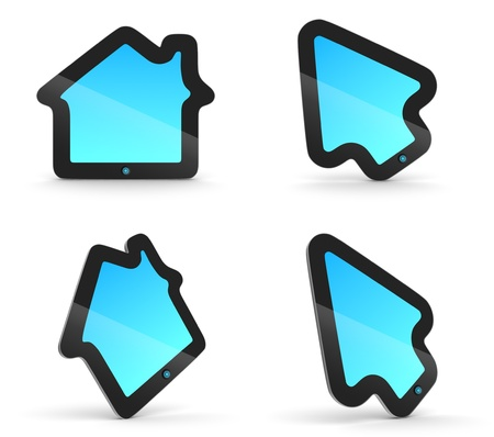 Arrow pad and House pad. Fancy touch pad concepts. Gadgets with house and mouse arrow pointer shape. photo