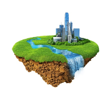 eco green: Cityscape on a lawn with river, waterfall. Fancy island in the air isolated. Detailed ground in the base. Concept of success and happiness, idyllic modern harmony lifestyle.