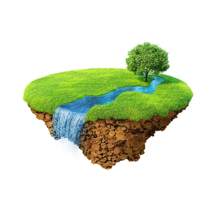 3d: Idyllic natural landscape. Lawn with river, waterfall and one tree. Fancy island in the air isolated. Detailed ground in the base. Concept of success and happiness, idyllic ecological lifestyle. Series. Stock Photo