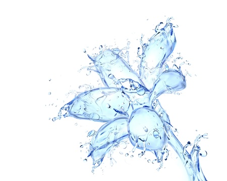 Flower blossom liquid artwork - Flower bud shape made of water with falling drops Stock fotó