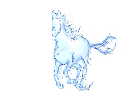 transparent drop: Galloping horse liquid artwork - Animal figure in motion made of water with falling drops