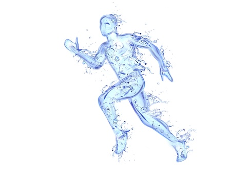 flit: Running man liquid artwork - Athlete figure in motion made of water with falling drops Stock Photo